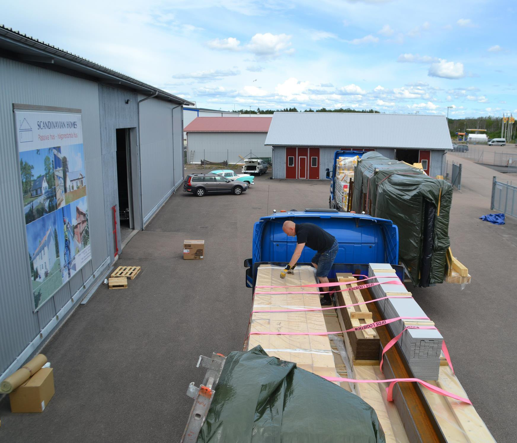 Practically all materials needed for a complete passive house are loaded onto the trailers at the Scanhome factory